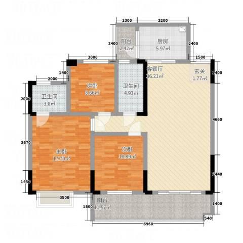 明珠花园3室1厅2卫1厨128.00㎡户型图