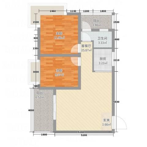 椰林水岸2室1厅1卫1厨85.00㎡户型图