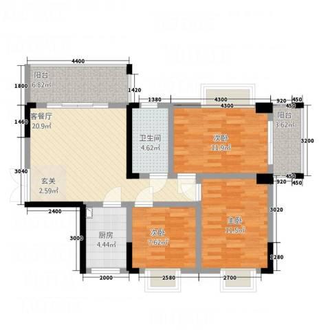 明珠花园3室1厅1卫1厨71.67㎡户型图