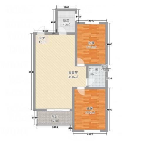 天福新城2室1厅1卫1厨107.00㎡户型图