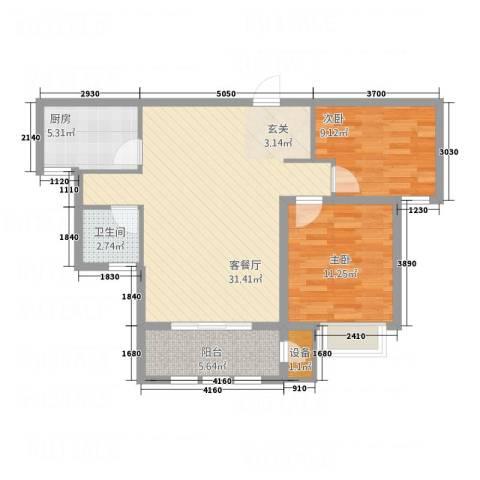 枫桦豪景2室1厅1卫1厨66.58㎡户型图