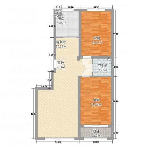 天诚・金地名座2室1厅1卫1厨95.00㎡户型图