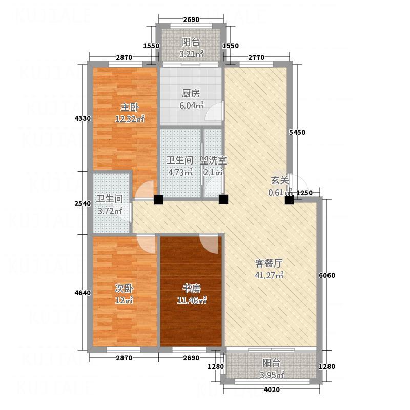 新河畔花园141.00㎡6#I户型3室2厅2卫1厨