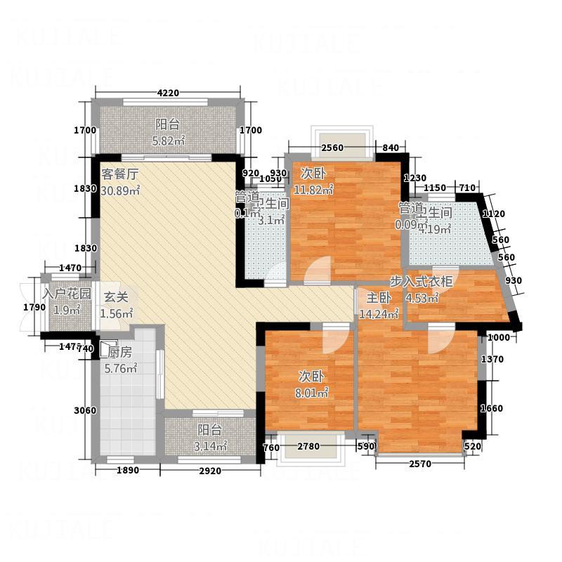 百汇・嘉印12.00㎡--户型3室2厅2卫1厨