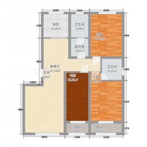天诚・金地名座3室2厅2卫1厨130.00㎡户型图