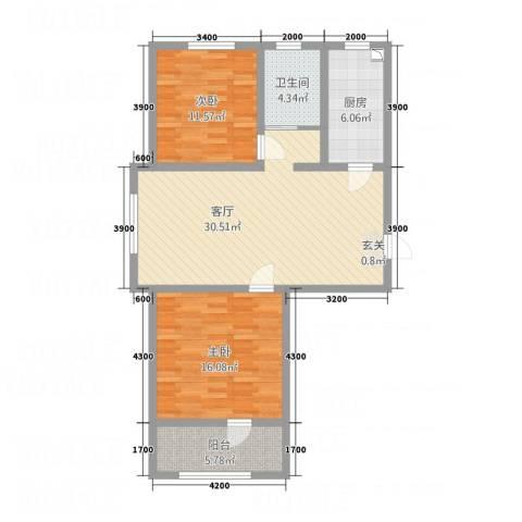 东城丽景2室1厅1卫1厨112.00㎡户型图
