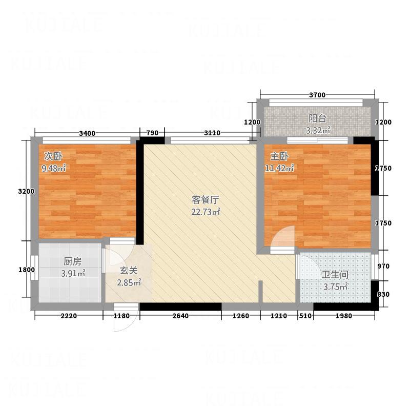 中山华庭7.10㎡C户型2室1厅1卫1厨