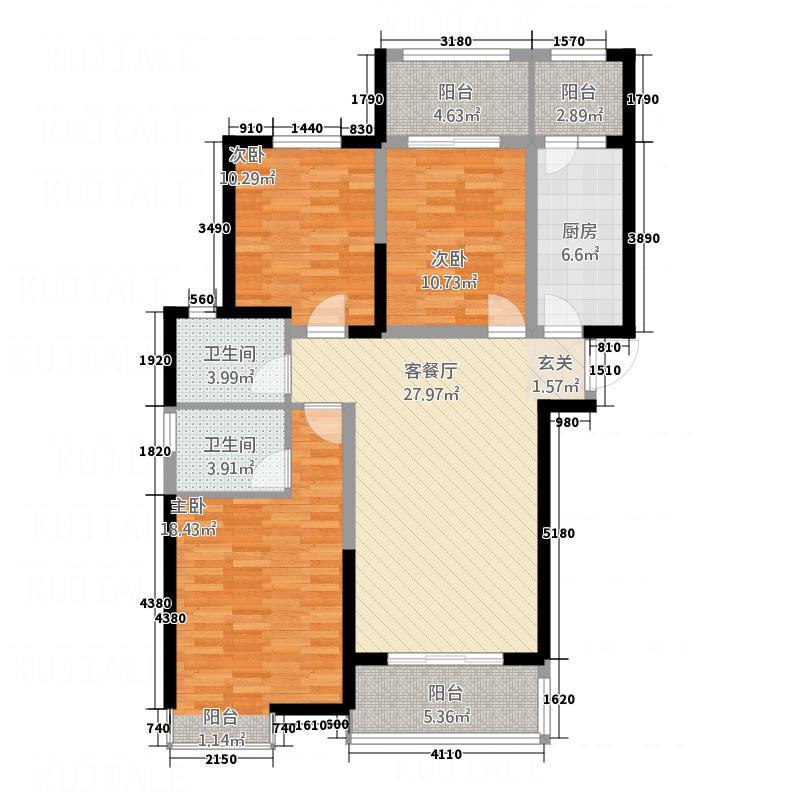 新乡正商城136.00㎡户型3室2厅2卫1厨