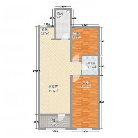 东城丽景2室1厅1卫1厨76.85㎡户型图