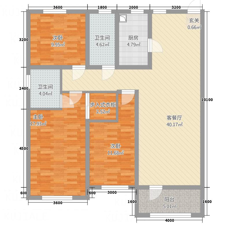 东城丽景138.43㎡户型3室2厅1卫1厨