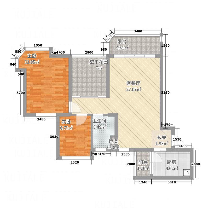 新会碧桂园南湖郡5号楼J330-02户型2室2厅1卫1厨