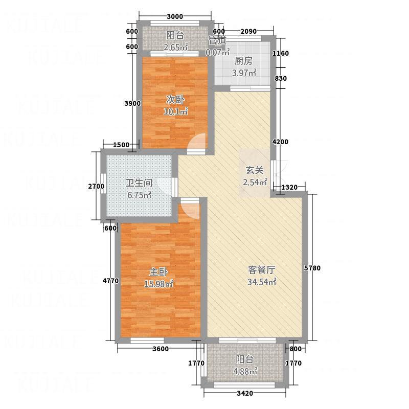 富馨花园5.00㎡c2户型3室2厅1卫
