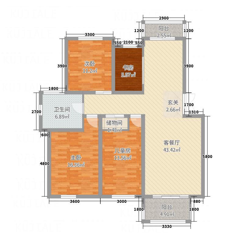 富馨花园13.00㎡B2户型3室2厅1卫