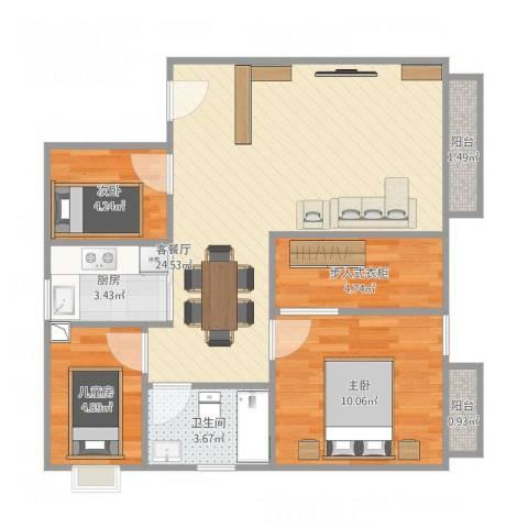 金威大厦3室1厅1卫1厨80.00㎡户型图
