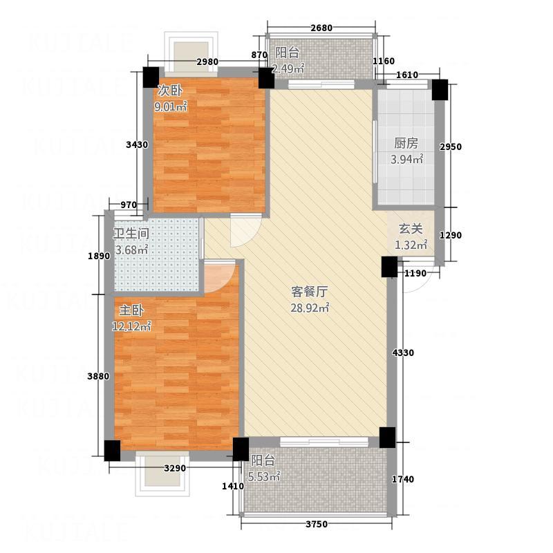 尚城国际2.43㎡E户型2室2厅1卫1厨