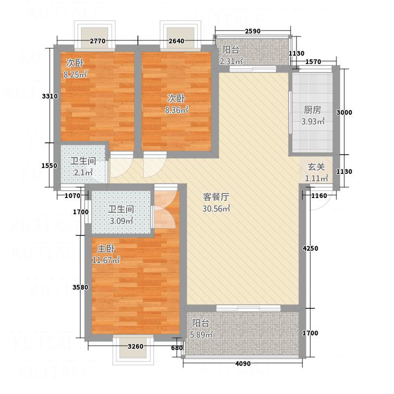 尚城国际18.72㎡D户型3室2厅2卫1厨