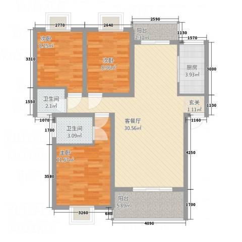 尚城国际3室1厅2卫1厨76.18㎡户型图