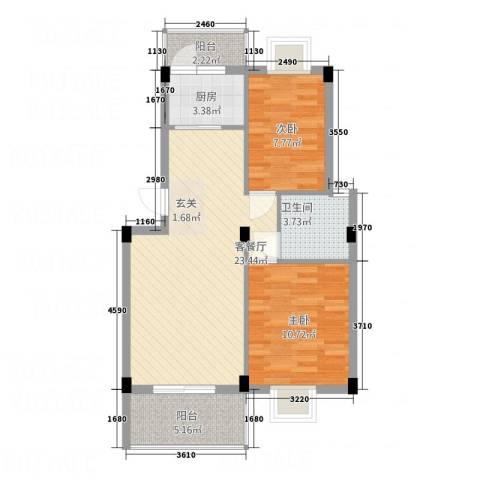 尚城国际2室1厅1卫1厨56.42㎡户型图
