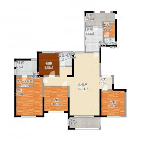 天慧紫辰阁4室1厅3卫1厨195.00㎡户型图
