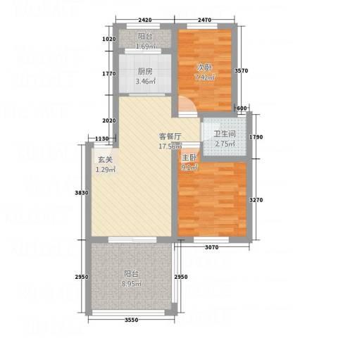 悦欣庭苑2室1厅1卫1厨75.00㎡户型图