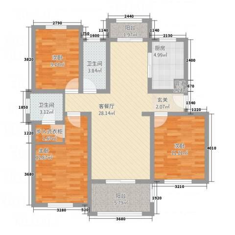 悦欣庭苑3室1厅2卫1厨122.00㎡户型图