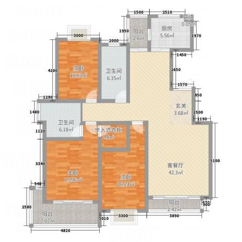 尚东城3室1厅2卫1厨156.00㎡户型图