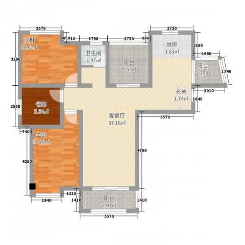 悦欣庭苑3室1厅1卫0厨116.00㎡户型图