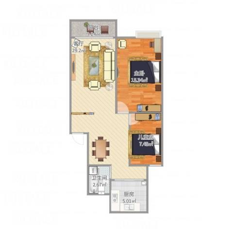 宁静家园2室1厅1卫1厨85.00㎡户型图