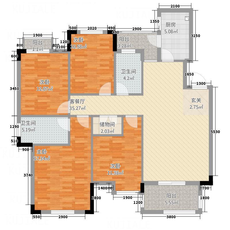 博士湾壹号132.71㎡户型4室2厅2卫1厨