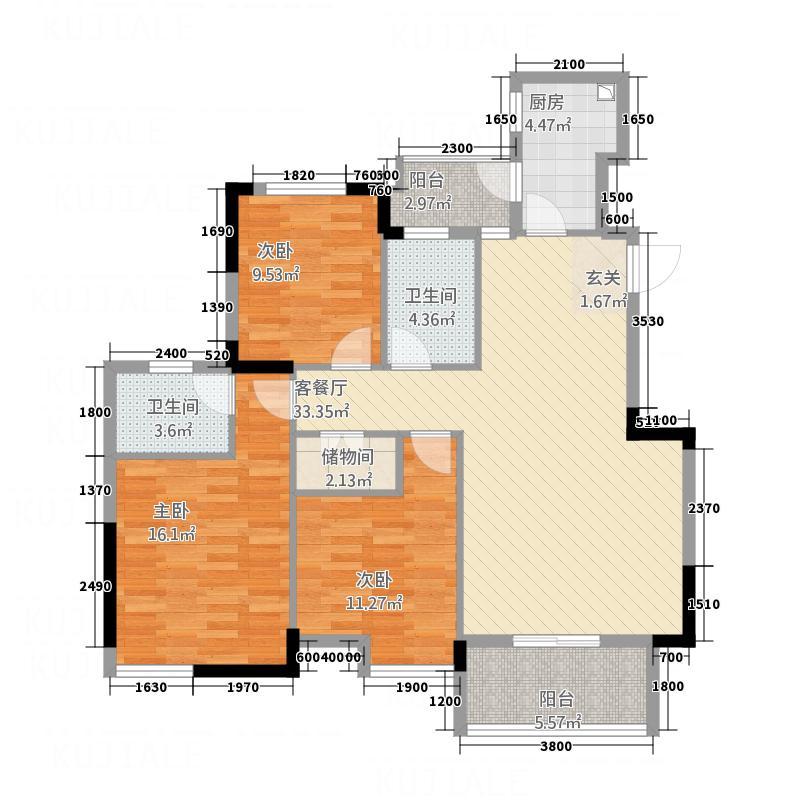 博士湾壹号12.67㎡户型3室2厅2卫1厨