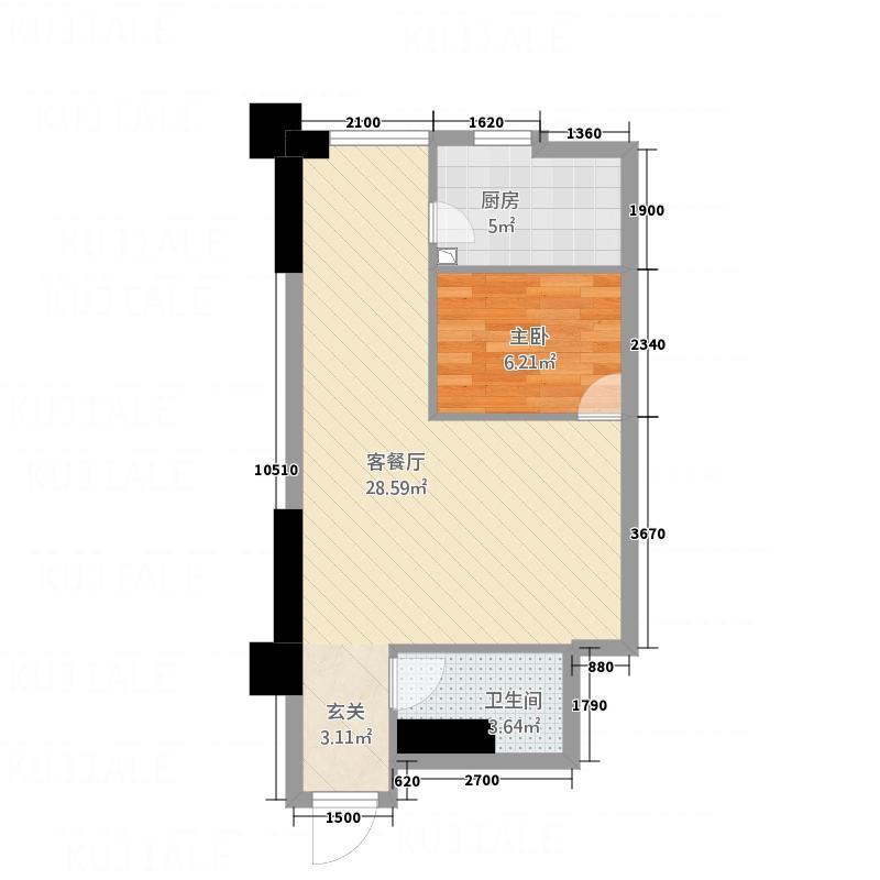 乐天国际广场61.60㎡公寓D户型1室1厅1卫1厨