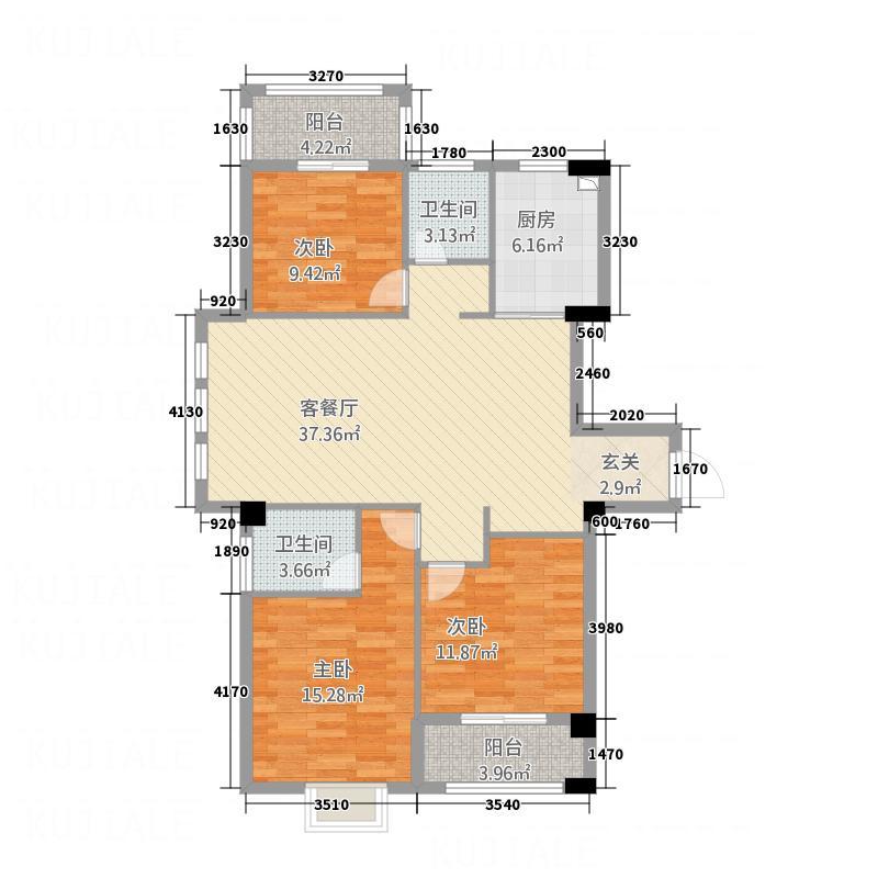 建阳美加德广场1453132.25㎡户型3室2厅2卫1厨