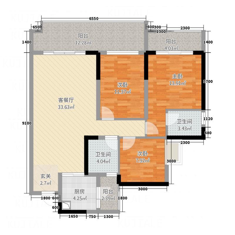 江岸・上层半岛121.60㎡3223114176户型3室2厅2卫1厨