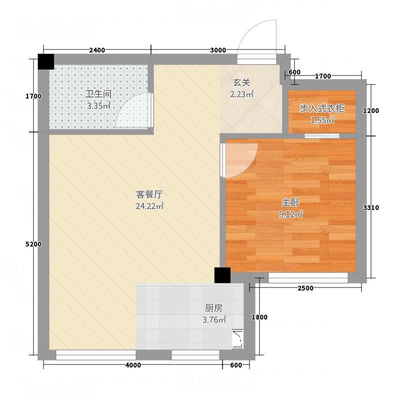 绿城国际55.00㎡2户型1室1厅1卫1厨