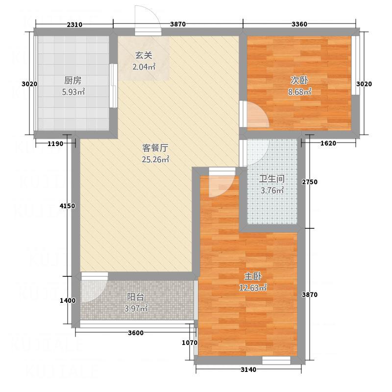 海丰城87.00㎡B户型2室2厅1卫1厨