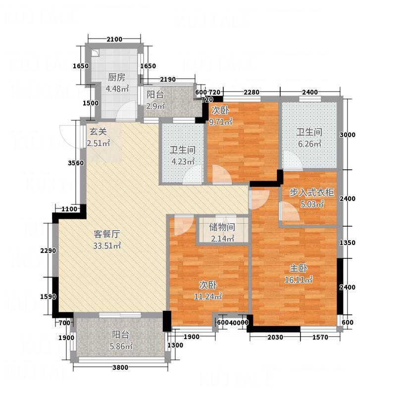 博士湾壹号13.51㎡户型3室2厅2卫1厨