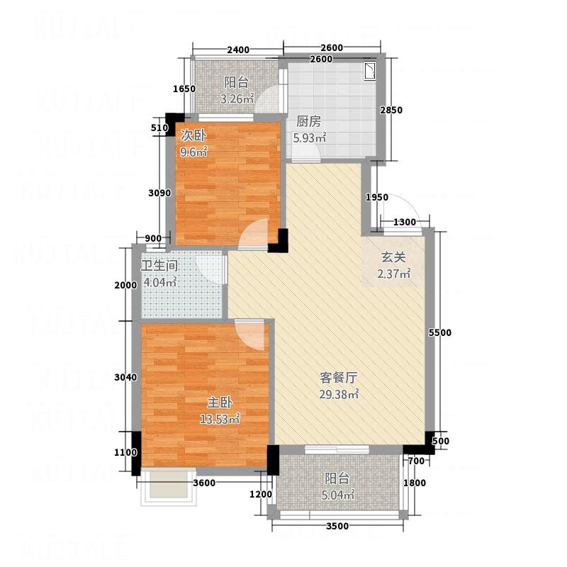 博士湾壹号82.63㎡户型2室2厅1卫1厨