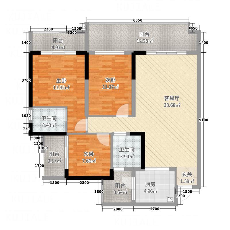 江岸・上层半岛123.40㎡3223114176户型3室2厅2卫1厨