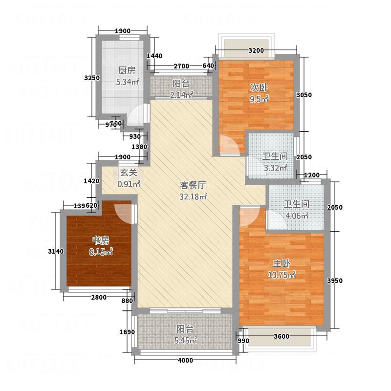 弈谷文化产业园18.00㎡B户型3室2厅2卫1厨