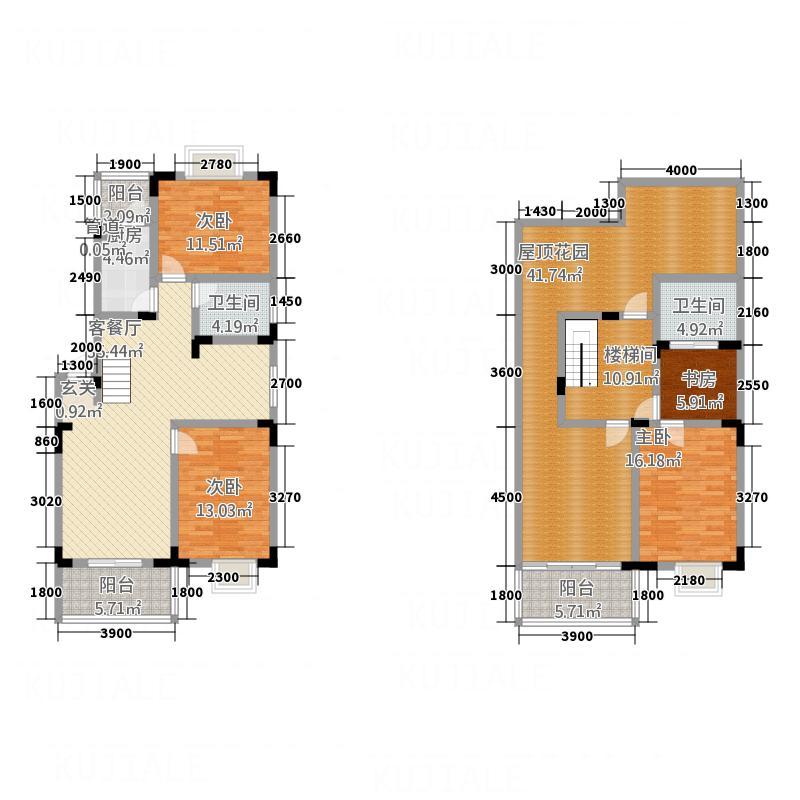 禾嘉名邸133.66㎡M2跃户型4室2厅2卫1厨