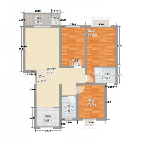 紫光华庭・新世纪3室1厅2卫1厨114.00㎡户型图