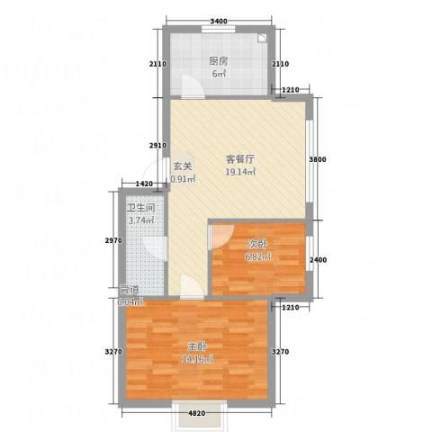 翠岭明珠2室1厅1卫1厨67.00㎡户型图