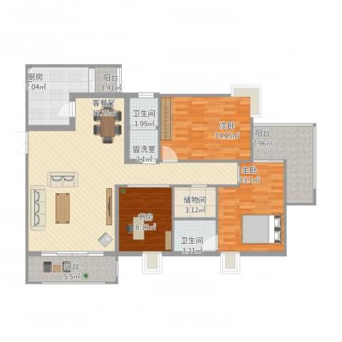 吐哈石油大厦3室2厅2卫1厨147.00㎡户型图