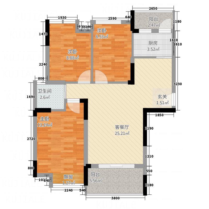 江中・盛世峰景1.50㎡K户型3室2厅1卫1厨
