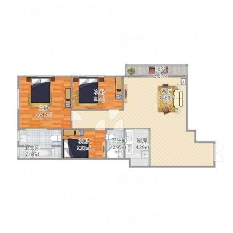 白鹭花园公寓3室1厅2卫1厨122.00㎡户型图