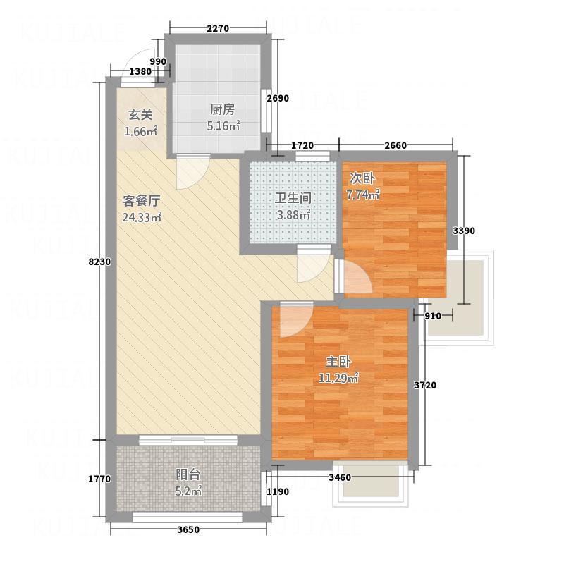 永基・九里D户型2室2厅1卫1厨