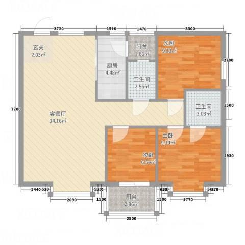 汇豪大厦3室1厅2卫1厨103.00㎡户型图