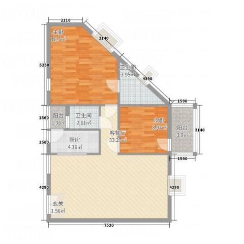 汇豪大厦2室1厅2卫1厨77.13㎡户型图