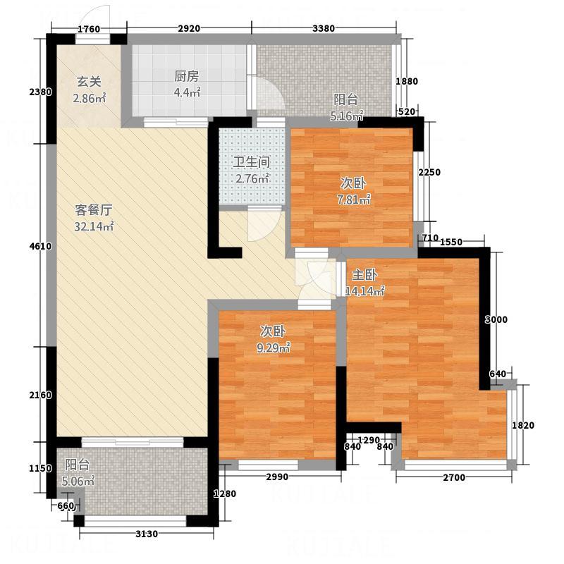 宏义・江湾城2.36㎡二期M标准层户型3室2厅1卫1厨