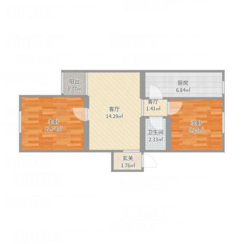 龙华园东区2室2厅1卫1厨69.00㎡户型图